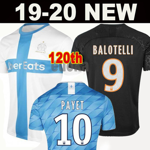 top popular 2019 Olympique de Marseille BENEDETTO Soccer Jersey 2020 Maillot De Foot PAYET 120 years THAUVIN 19 20 OM Home Away Kids Football shirts 2019