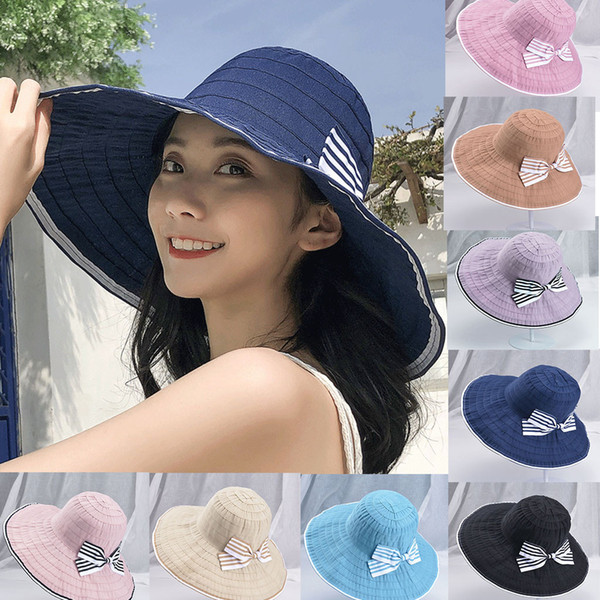 2019 Hats for Woman Men Caps Ladies Women Casual Wide Brimmed Floppy Foldable Solid Summer Sun Beach Hat