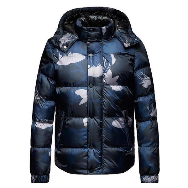 Mens Winter Jackets Plus Size Fashion Camouflage Stand Collar Hat Detachable Thickened Warm Coat Mens Parkas
