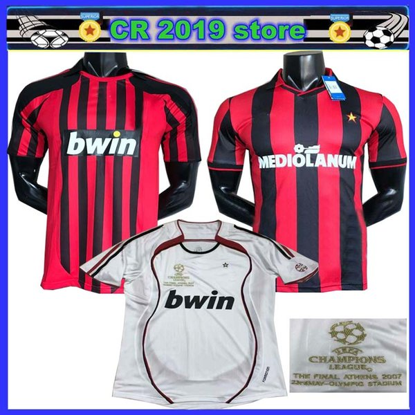 clásico 1991 1992 2006 2007 2008 Milan Retro camisetas de fútbol INZAGHI PIRLO MALDINI KAKA SHEVCHENKO AC 06 07 Camiseta de fútbol retro S-2XL