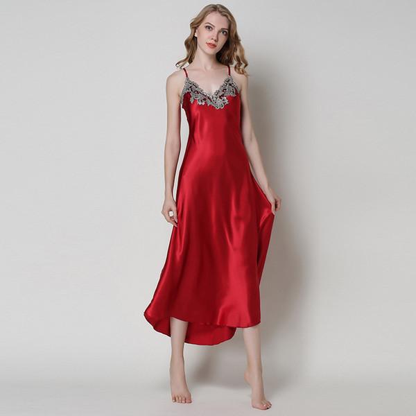Женщины Сексуальное белье Шелк Nightgowns Лето Вышивка Длинные пижамы сорочка атласная V-образным вырезом ночные Спагетти ремень Nightwear