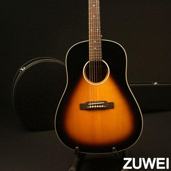 Guitarra acústica sólido Spruce Top Osso Nut Selas 20 trastes ao corpo Vintage Sunburst Grover Tuner
