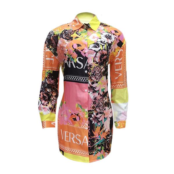 Camisa sexy ocasional de las mujeres vestido de solapa cuello de manga larga floral impreso mini vestidos mujeres clothing p608