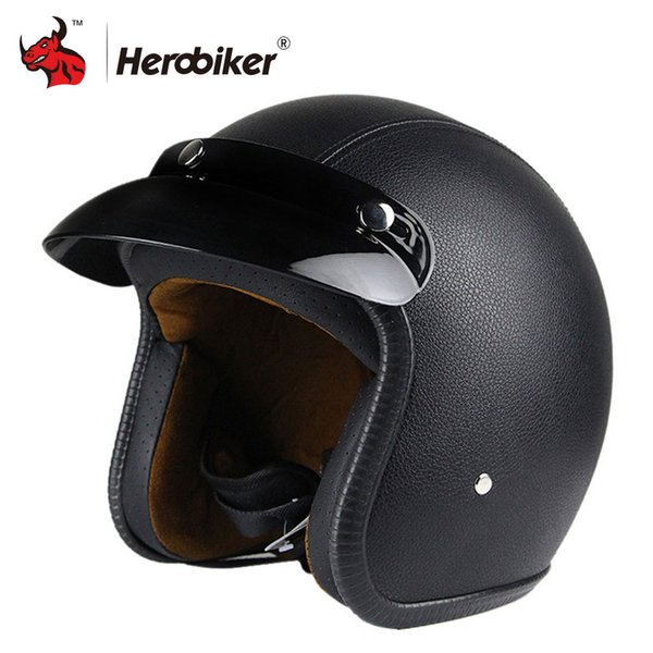 New Synthetic Leather Motorcycle Helmet Retro Vintage Cruiser Chopper Scooter Cafe Racer Moto Helmet 3/4 Open Face DOT