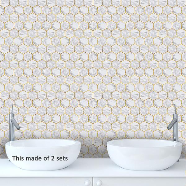 Azulejos de mármol blanco hexagonal autoadhesivo calcomanía de vinilo del baño impermeable cocina extraíble anti aceite azulejos pegatinas sala de estar decoración