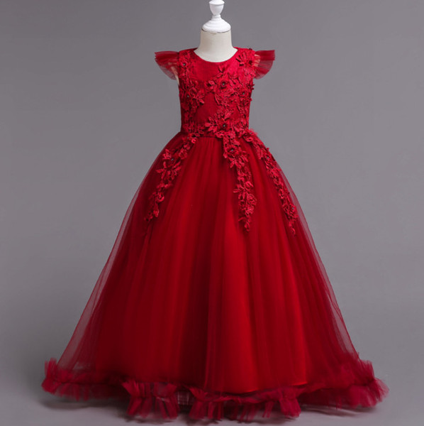 Chirstmas party dresses Big girls beaded stereo flowers embroidered long dress kids lace falbala fly sleeve princess dress Ball Gown F9847