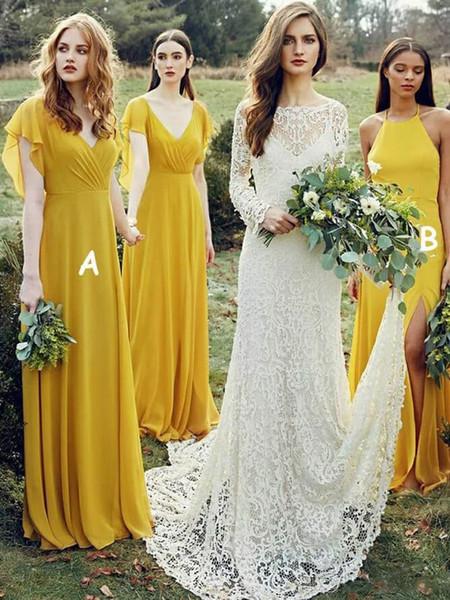 Novas do verão Jardim Boho Vestidos dama Mixed Amarelo Estilo Flowy Chiffon Longo dama de honra Vestidos Custom Made baratos
