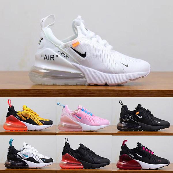 nike air max 270 270s 27c airmax 2019 27C récent coussin d'air en tricot respirant enfants Chaussures de course garçon fille sport jeune enfant Sneaker taille 28-35 GT-8S