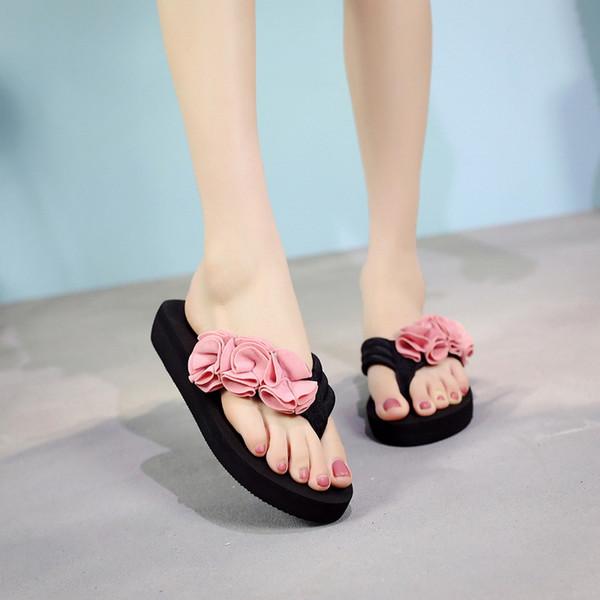 Verano Mujer Zapatos Mujer Flor Sandalias de verano Zapatilla Interior al aire libre Chanclas Zapatos de playa Damas Chanclas planas