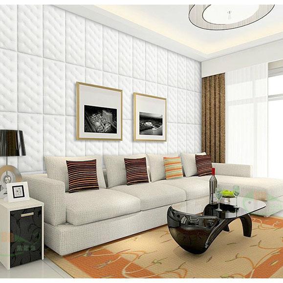 parete 3D stereoscopico carta da parati adesiva, camera da letto comodino murale decorativo, tappetino antischiuma muro di collisione, bianco borsa morbida muro