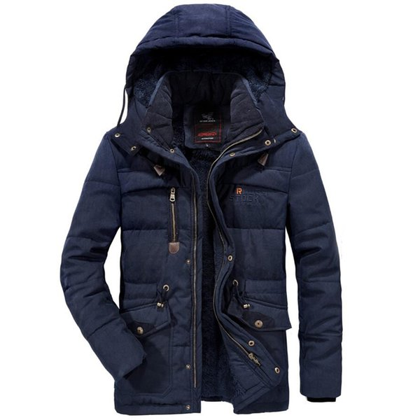 Invierno espesar Parka hombres Windbreaker Plus chaqueta con capucha de terciopelo para hombre Outwear bolsillos a prueba de viento abrigo tamaño 6XL 7XL 8XL ropa