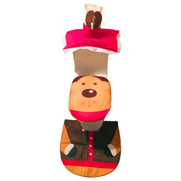 2019 Noel Santa Klozet Kapağı, Kilim Seti, Tank Kapağı ve Tuvalet Kağıdı Kutusu Kapağı Noel Dekorasyonu Banyo Dekor Seti 3