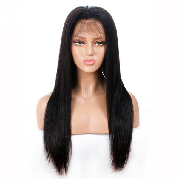 Parrucche piene del merletto dei capelli umani Preplucked diritto serico libero parrucche vergini brasiliane della parte anteriore del pizzo con i capelli del bambino per le donne afroamericane