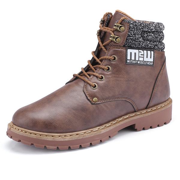 La caviglia stivali da uomo Scarpe in pelle Autunno Inverno vello Vintage Classic Casual Male Motorcycle Boot Calzature