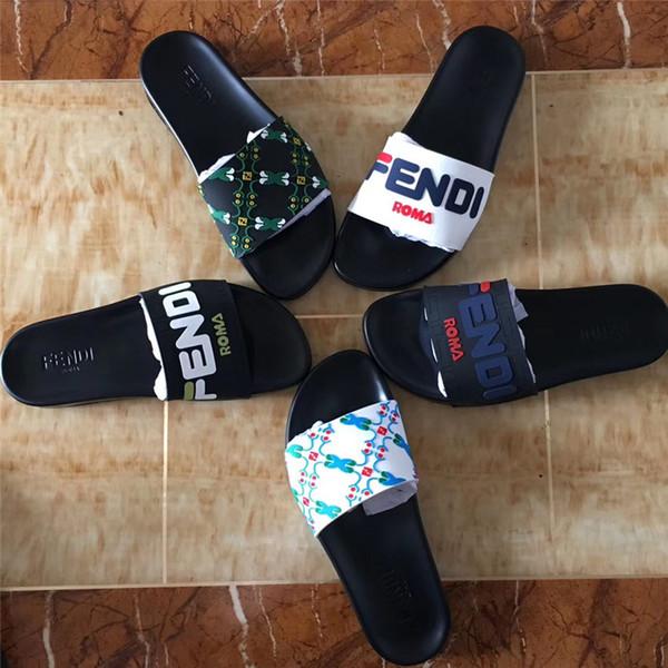 Los hombres de las mujeres sandalias zapatos de diseñador cartas de lujo de la diapositiva de moda de verano ancho sandalias planas zapatillas con caja bolsa de polvo tamaño 36-45