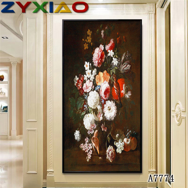 ZYXIAO Big Size Oil Painting Art flower white rose vase Home Decor on Canvas Modern Wall Art No Frame Print Poster picture A7774