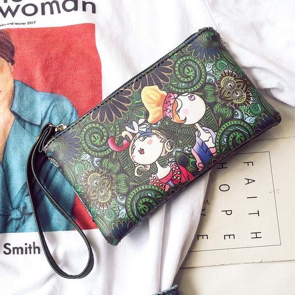 Simple Fashion Women Long Purse With Wrist Strap Printing Zipped Wallet Ladies Girls Casual Clutch Bag Fa$b Women Bag