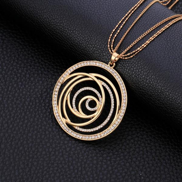 Мода чешский CZ бурение большой круглый кулон Макси золотое ожерелье для женщин партия подарки элегантные длинные ожерелья ювелирные аксессуары