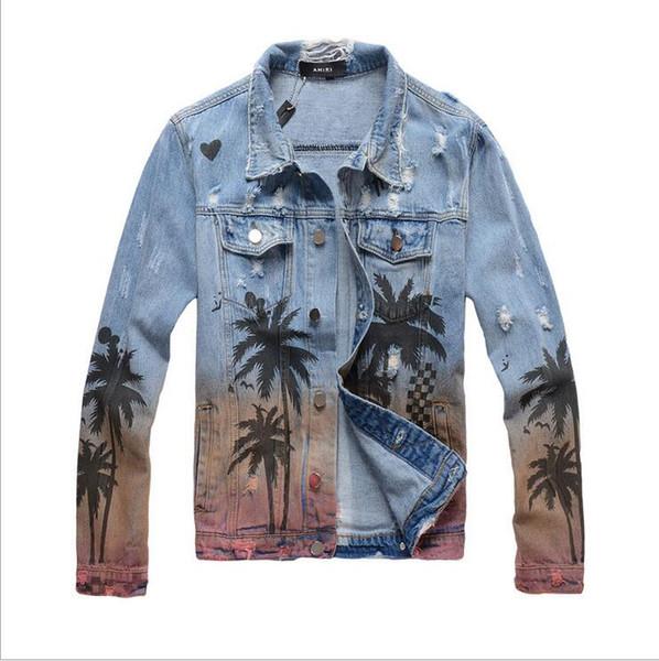 Chaqueta de mezclilla para hombres de moda de High Street Elegante estilo tropical Agujeros de patrón con el mismo tipo de chaqueta de mezclilla AM