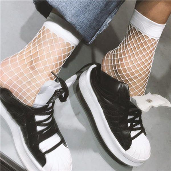 Sports socks Streetwear Hollow out sexy pantyhose female Mesh black women tights stocking slim fishnet short stockings club party hosiery