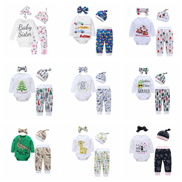 13 style Baby suit Christmas print set cartoon long sleeve romper+pants+hat with headband 4pcs/lot boys girls clothes