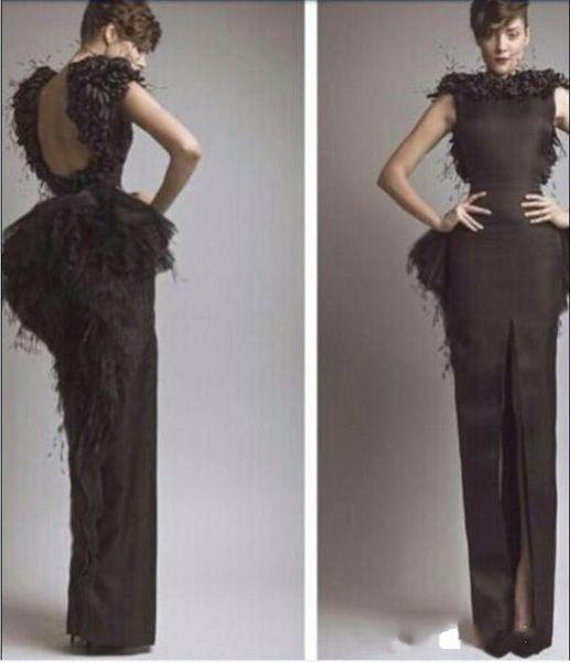 2019 New Free shipping Celebrity dress with Feather satin scoop belt floor -length custome made Evening Dresses vestidos de festa