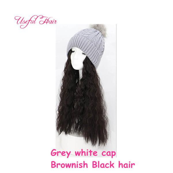 Greyish white cap brownish Curly hair