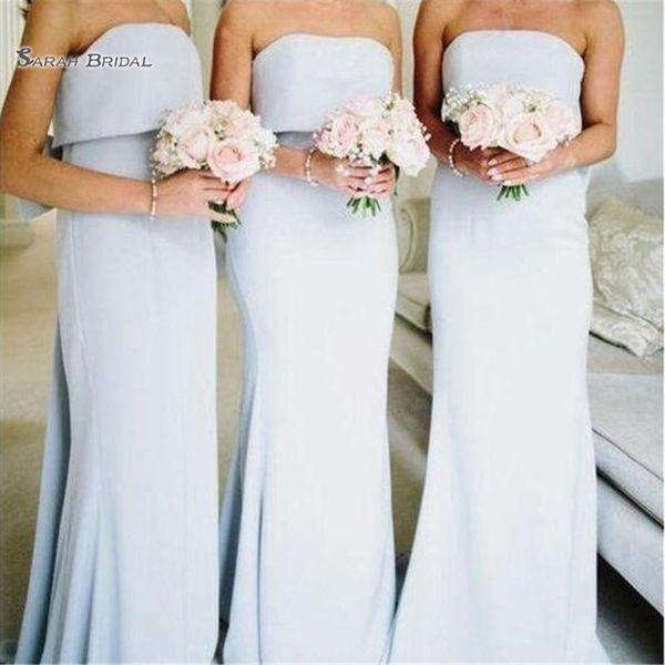2020 da festa de casamento da dama de cetim Dresse Bainha Strapless vestidos até o chão Sexy mangas dama de honra Vestido