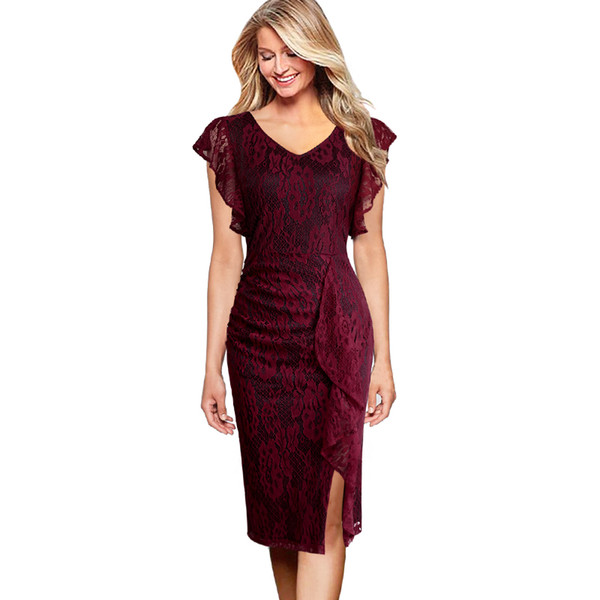 wholesale Womens Elegant V Neck Floral Lace Ruffle Sleeve Front Slit Cocktail Wedding Party Slim Fitted Bodycon Pencil Dress 2203