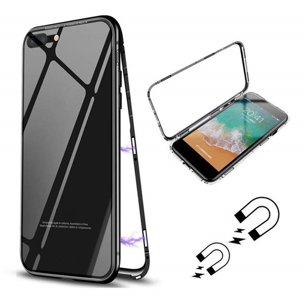Luxury Metal Tempered Glasses Case Magnetic Adsorption Case Ultra Slim Magnet Frames Flip Protective Case Cover for iPhone 6 6S 7 8 X
