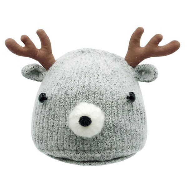 6-18M Cute Christmas Toddler Baby Cartoon Winter Deer Horn Knitted Hat Baby Cotton Blends Keep Warm Cap Drop Shipping