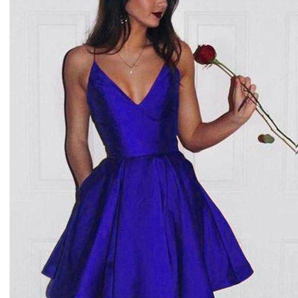 Ucuz Kısa Spagetti Leke Mezuniyet Elbiseleri V Yaka Bir Çizgi Mezuniyet Kokteyli Parti Elbiseleri Kısa Gelinlik Modelleri Kraliyet Mavi Yeni Geldi