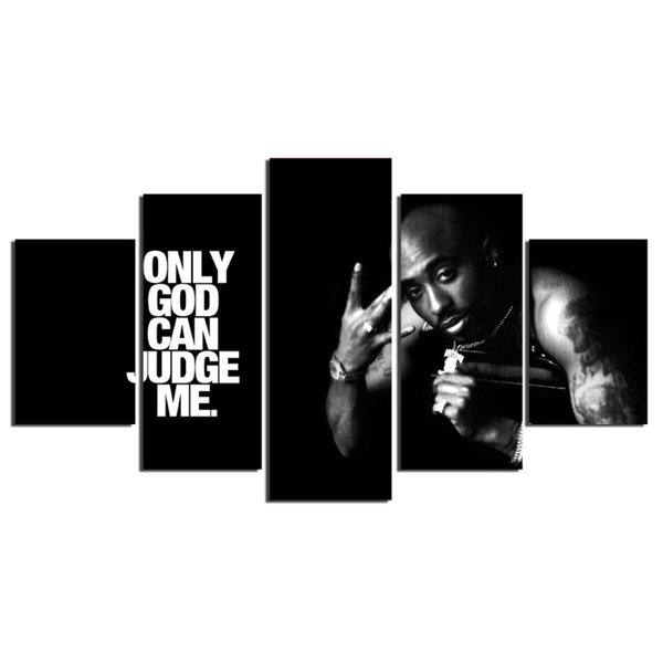Makaveli 2Pac Tupac Amaru Shakur Casa,5 Pieces Canvas Prints Wall Art Oil Painting Home Decor (Unframed/Framed)