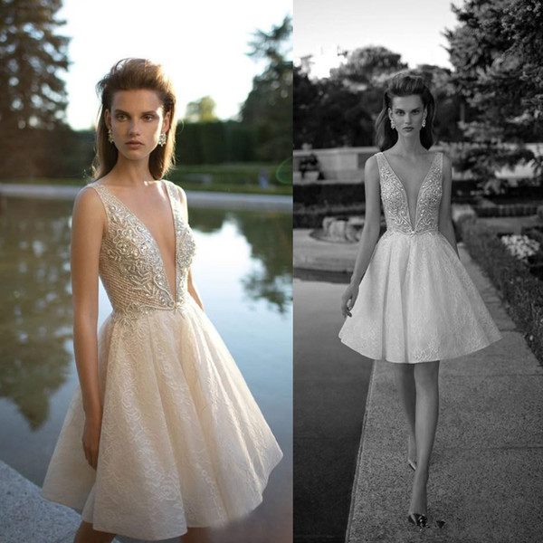 Chic Pearls Berta Wedding Dresses A-Line Pluning Neckline Lace Bridal Gown Appliqued Knee Length Short Wedding Dress 3939