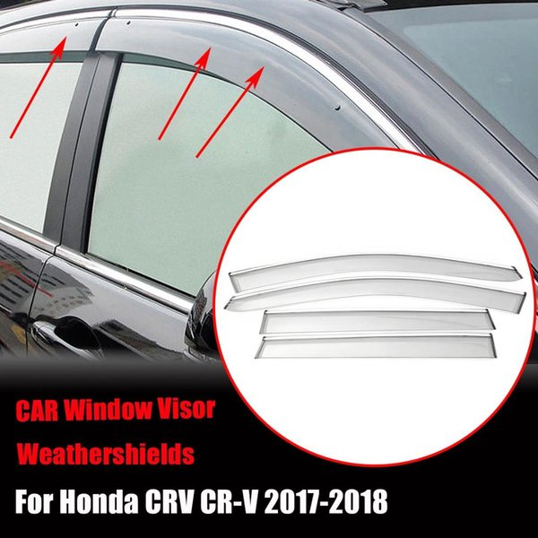4pcs Plastic Window Visor Vent Shades Rain Guard For /CRV /CR-V 2018-2018