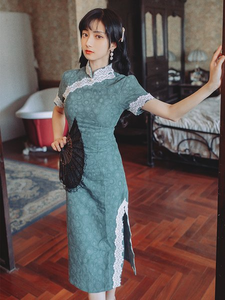 Best quality series# evening party dress green vintage retro cheongsam bodycon elegant midi guest engagement fashion women dresses 8100