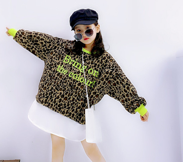 Filles sweat mode nouveaux enfants léopard faux deux pièces lettre enfants pull-over imprimé casual pull à manches longues Fit 3-12T F10358