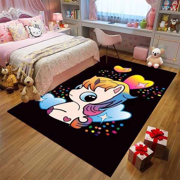 Cartoon Dream Unicorn Printed 3D Carpets For Living Room Bedroom Area Rugs Child Play Tent Floor Mats Cloakroom Soft Rug/Carpet