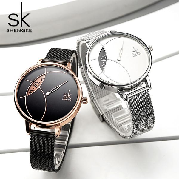 Творческие женщины Waatch розовое золото Бальк стали леди Кварцевые наручные часы роскошные SHENGKE Марка мода повседневная водонепроницаемый девушки Gfit