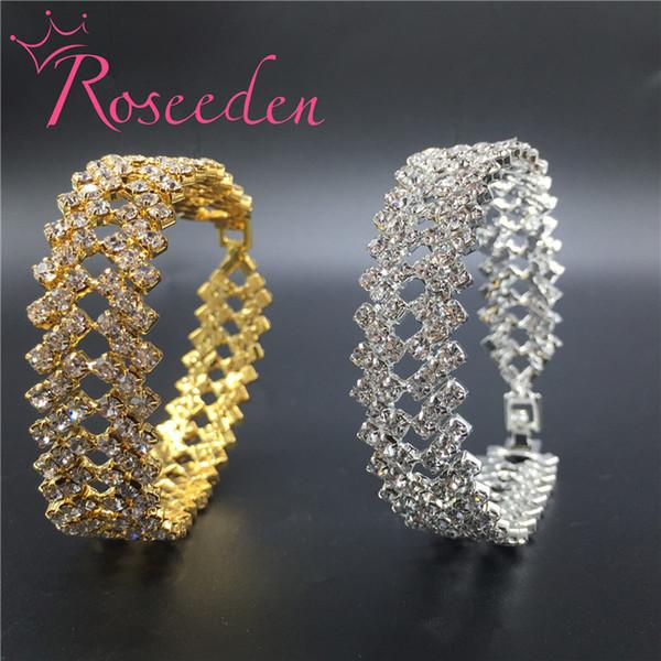 Charming Bride Wedding Bracelet For Women Crystal Jewelry Shiny Rhinestone Wide Fashion Bracelet Princess Wedding Jewelry Re693