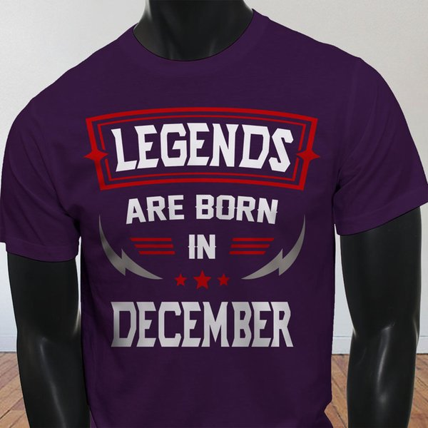 Legends Born In December Sagittarius Capricorn Mens Purple T-Shirt Tees Shirt Men Boy Design Short Sleeve Cotton Custom XXXL Tshirts