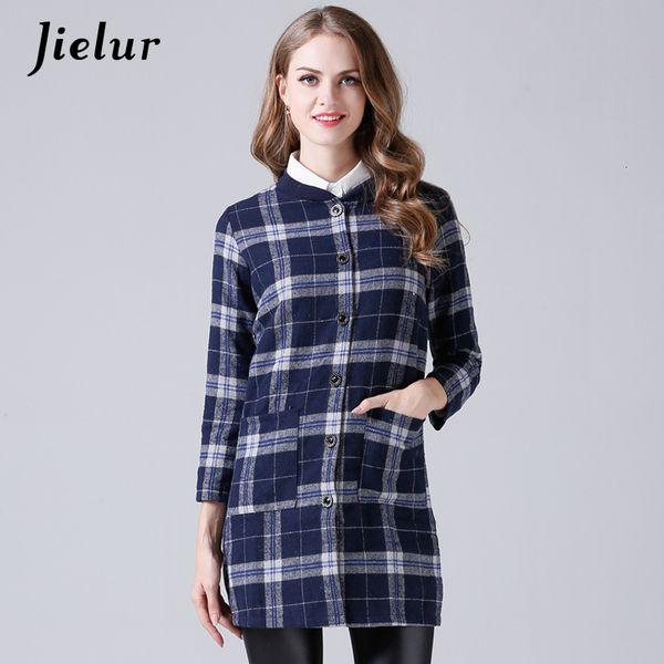 Jielur Spring Autumn Fashion Large Size Women's Shirt Single-breasted Long Plaid Shirts Slim Lady Long Sleeve Woolen Blusa M-3XL SH190928