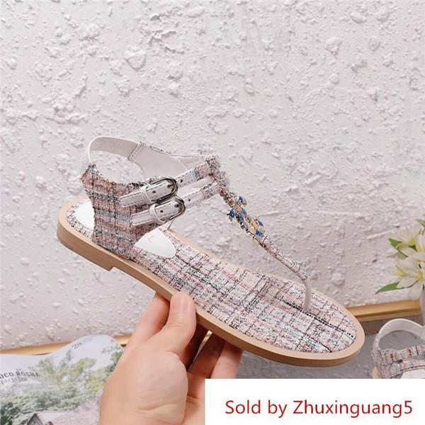 Scarpe firmate da donna di lusso per scarpe da donna sandali piatti con scatola di sandali 35-41