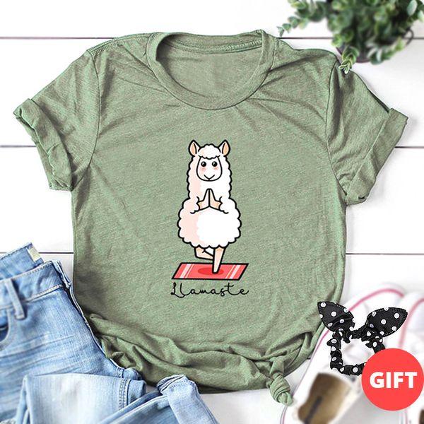 S-5XL Camiseta estampada casual para mujer 100% algodón lindo tallas grandes camisetas patrón de oveja Camisetas Harajuku Dibujos animados coreanos Tops básicos