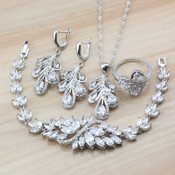 Exclusive Austria Crystal Women Costume 925 Sterling Silver Dubai Wedding Jewelry Sets Earrings/Necklace/Bracelet/Ring Sets