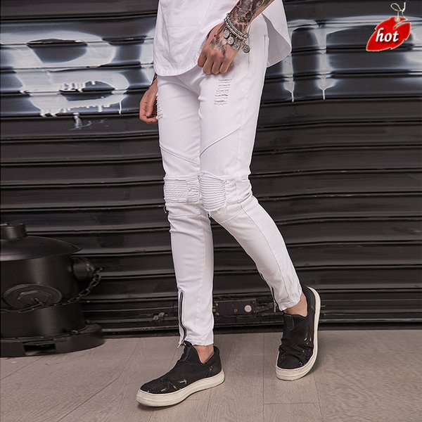 2019 Casual White Hip Hop Jeans for Men Ripped Pleated Skinny Streetwear Slim-fit Hole Locomotive Pencil Pants Plus Size O8R2