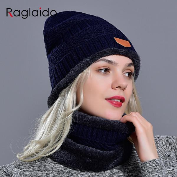 Raglaido hat winter women warm thick beanie neckwarmer set fashionable stylish snow classic outdoor hat