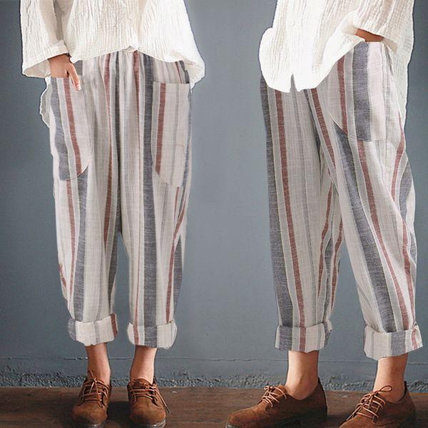 Plus Größe Baumwolle Leinen Pluderhosen Frauen Sommer Lose Hohe Taille Gestreiften Taschen Hosen Lässige Pantalon Weibliche Jogginghose Hosen
