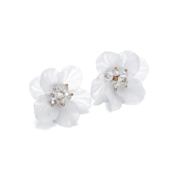 Classics Big White Flower Earrings For Women Fashion Jewelry Party Casual 2019 Holiday Studs Elegant Bijoux E2674