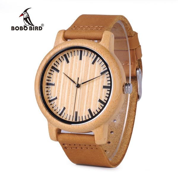 en's Watches Quartz Wristwatches Top Brand BOBO BIRD Men's Bamboo Watch Genuine leather Strap Wooden Wristwatches Women Quartz Wood Watch...